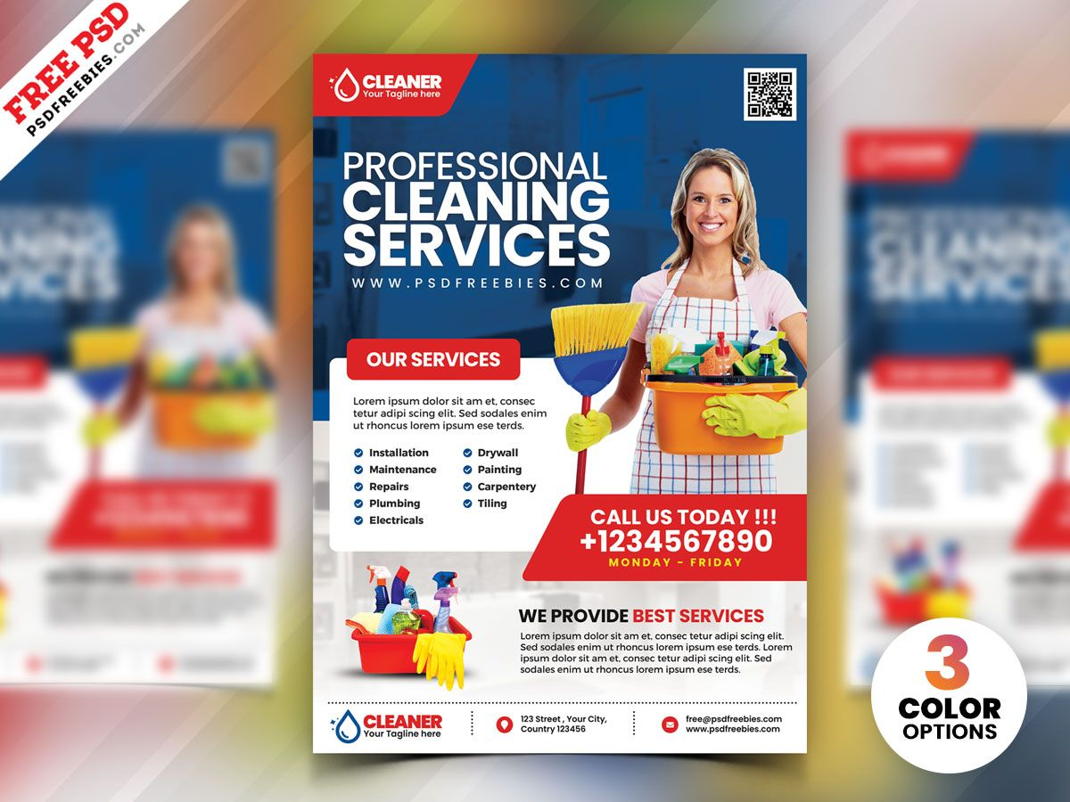 Cleaning Service Flyer Psd Cleaning Service Flyer Flyer Template Flyer House cleaning flyers template free
