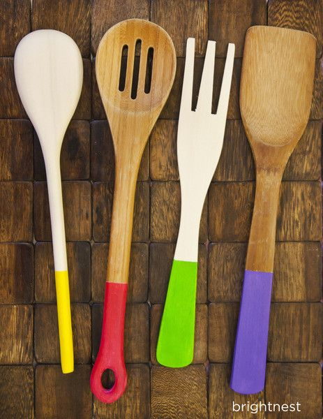 How To Make Diy Paint Dipped Wooden Kitchen Utensils It S Super Easy If You Love Sign Up For A Free Http Brightnest Account