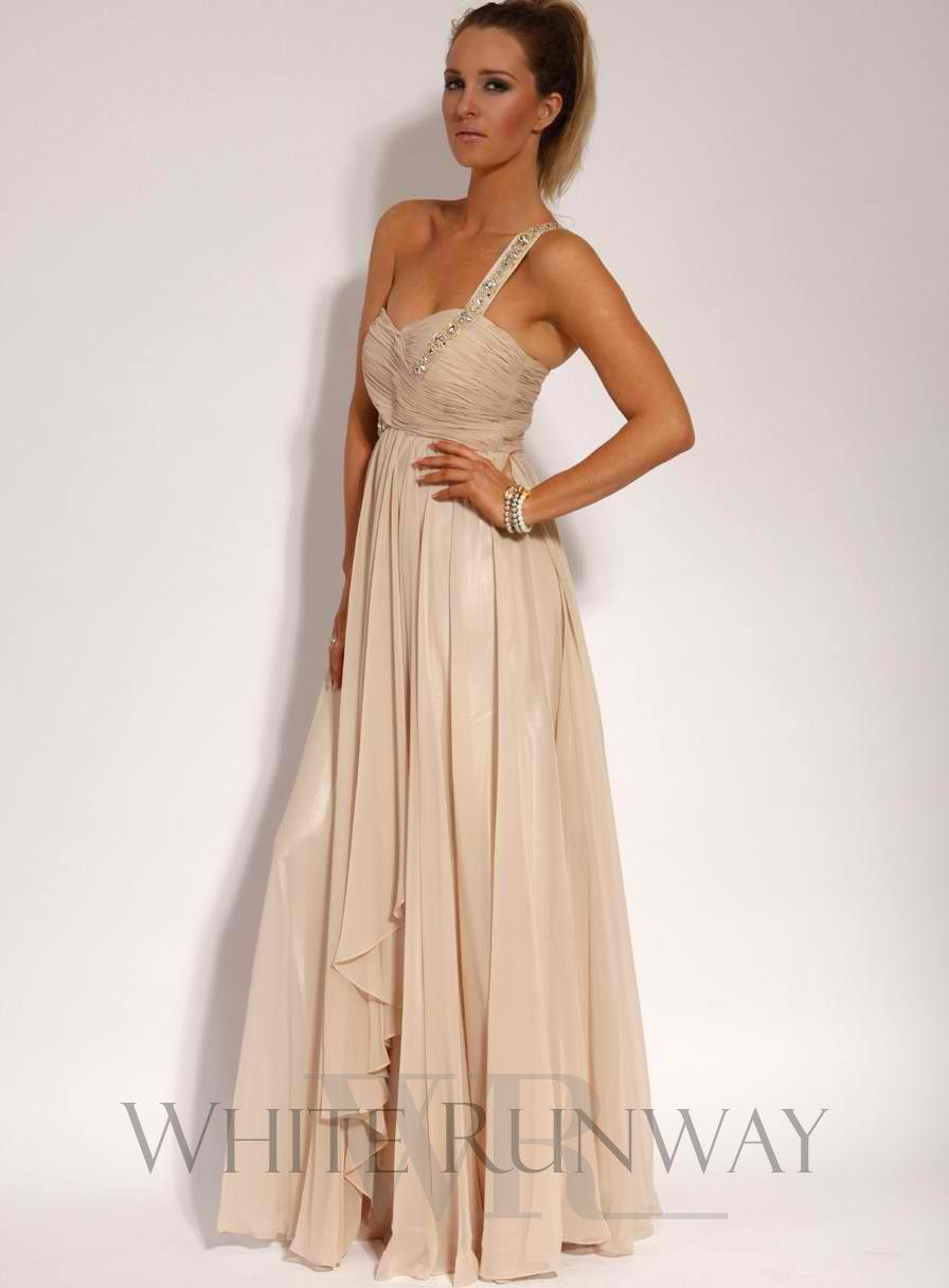 Lucia embellished one shoulder dress champagne bridesmaids