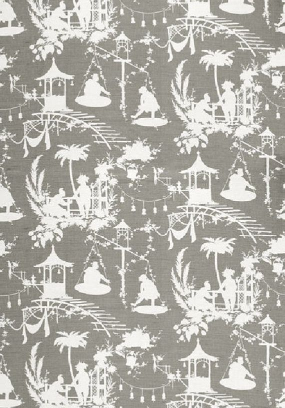 Fabric By The Yard Upholstery Fabric Chinoiserie Fabric Asian