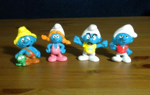 Set of All 4 Smurflings Rare Vintage Smurf Figures Young