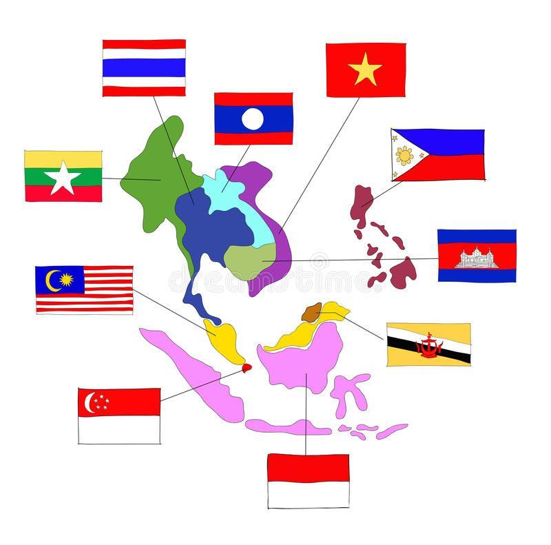 Asean Economic Community Aec Vector Illustration Myanmar Flag Flags Of The World Kindergarten Worksheets Free Printables