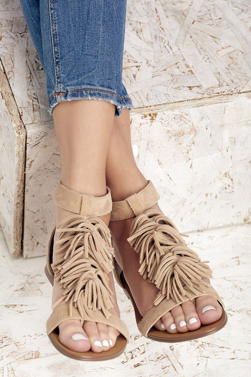 61d6680cd07b Suede flat sandals with fringe