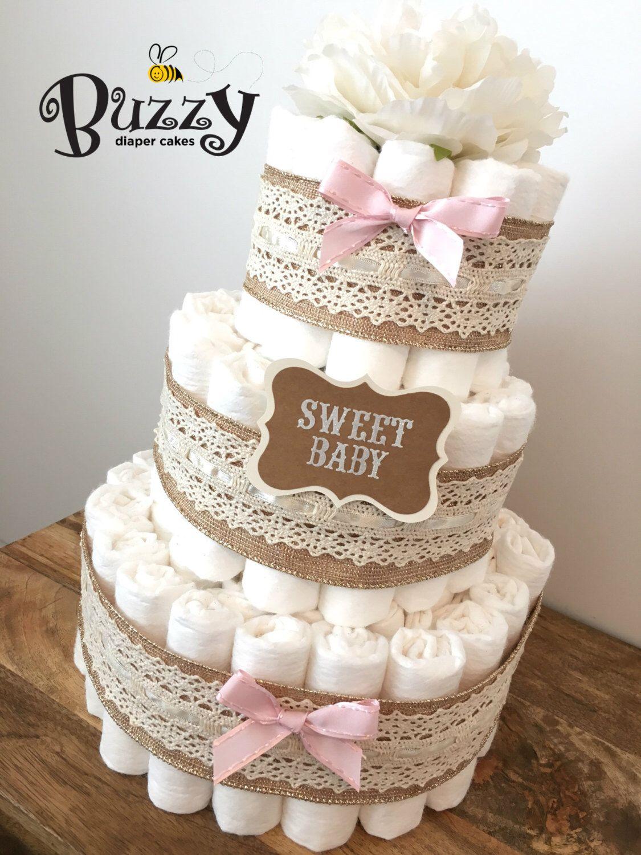rustic chic diaper cakes for girl shower centerpiece girl diaper cake