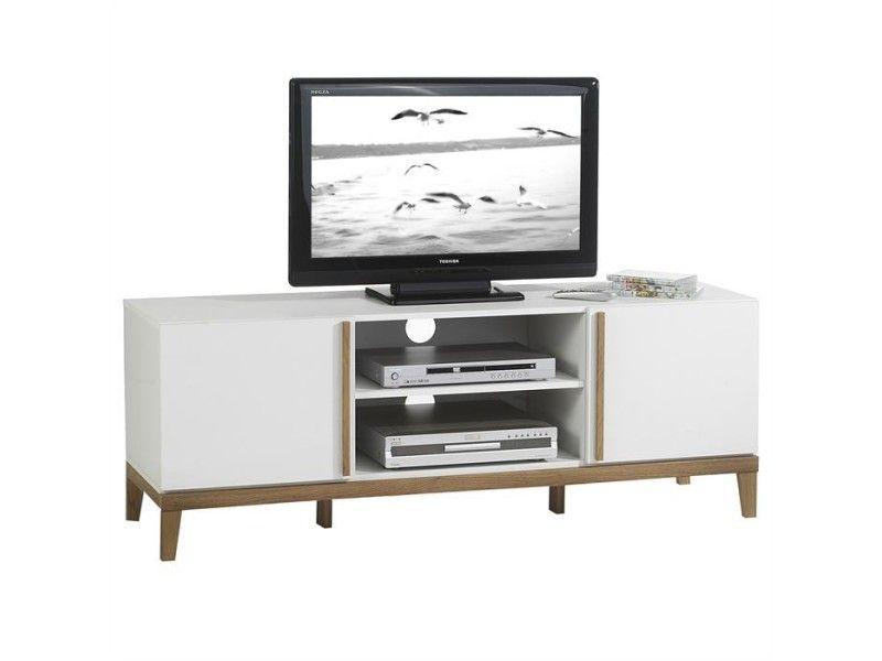 Meuble Banc Tv Vintage Riga Mdf Blanc Et Bois Pas Cher C 39 Est Sur Conforama Fr Large Choix Prix Discount Et Des O Meuble Tv Bois Meuble Tv Tv Vintage