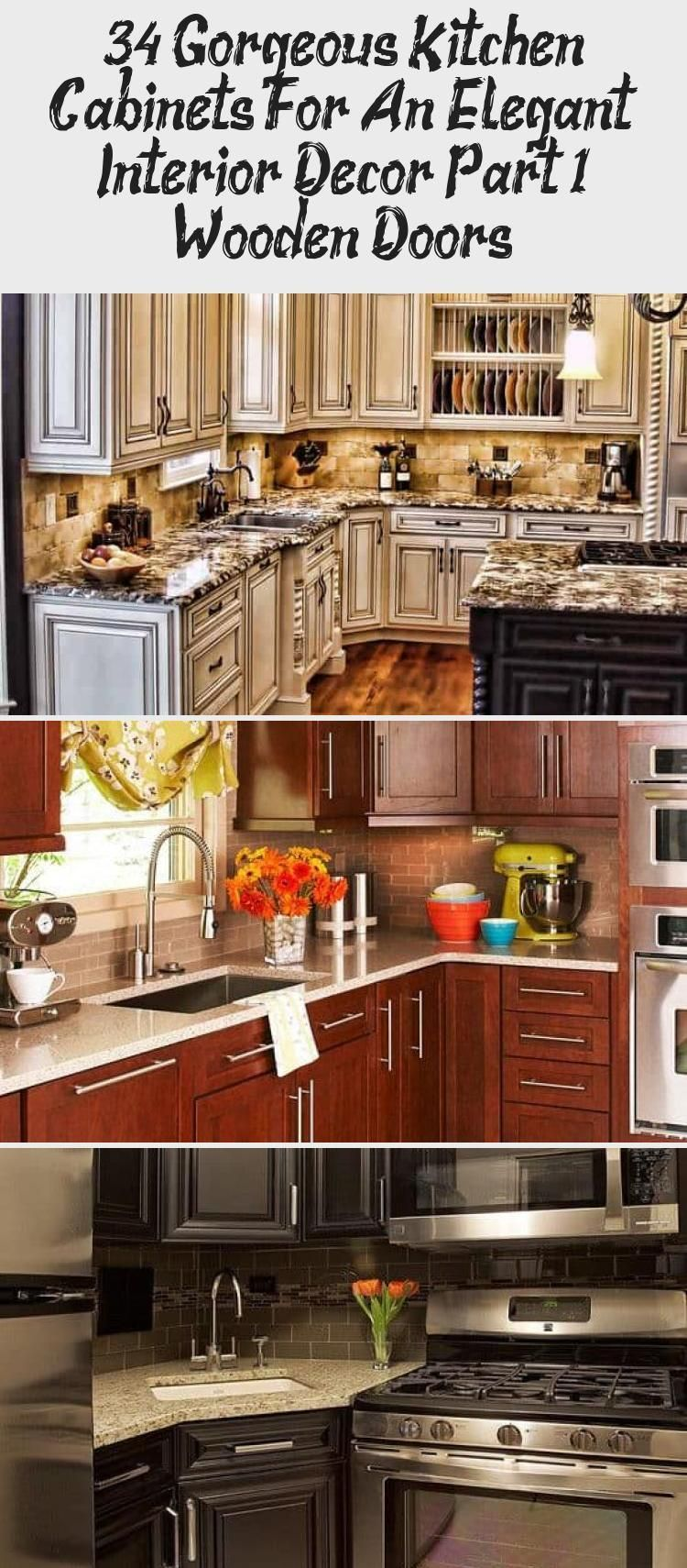 Photo of 34 Gorgeous kitchen cabinets for elegant interior decor Part 1- Wooden doors …
