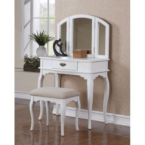 Vanity Makeup Table SetWhite Vanities W/ A Beveled Vintage Look