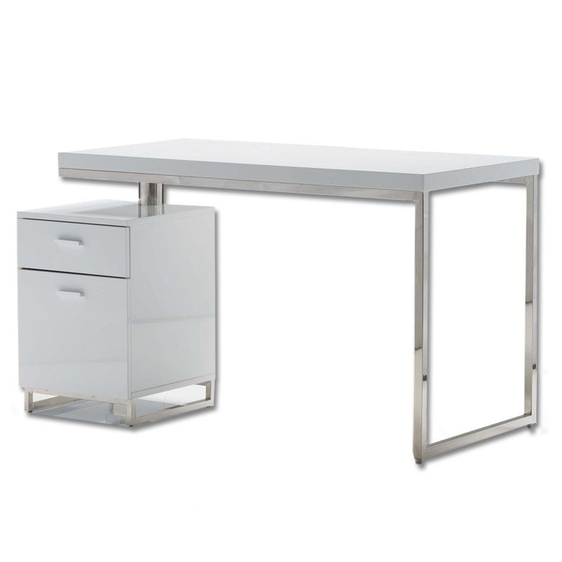 White High Gloss Finish With Polished Stainless Steel Legs. Desk Top Pivots  To Make File