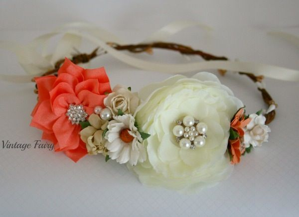 This gorgeous peach and cream flower crown is just so lovely, Perfect for so many occasionsThe gorgeous bling in the centre of the flowers gives this crown a glamorous look. Sits to the side of the head like you see in the picture Adjustable in the back with ribbon