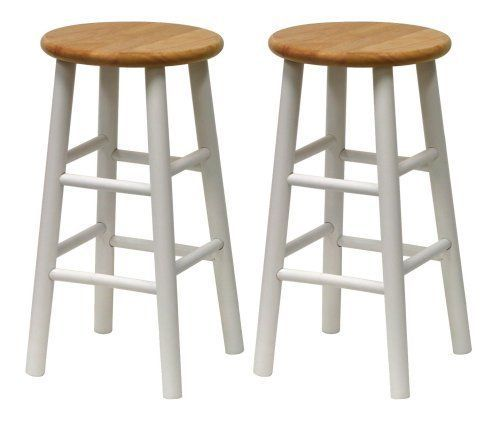Furniture Stool Bar Set 2 White High Seat Counter Beveled 24 Inch Round Wood Winsome Counter Stool Kursi Bar Bangku