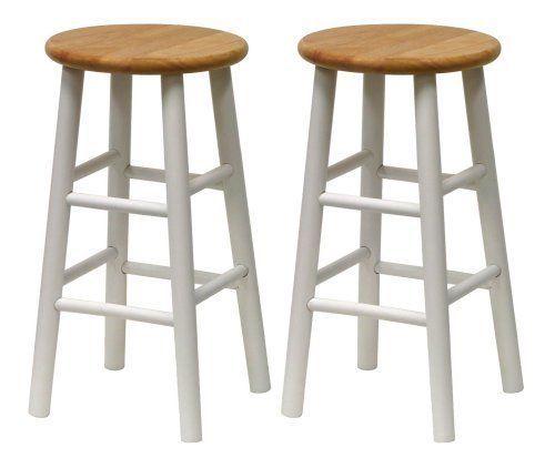 Furniture Stool Bar Set 2 White High Seat Counter Beveled 24 Inch