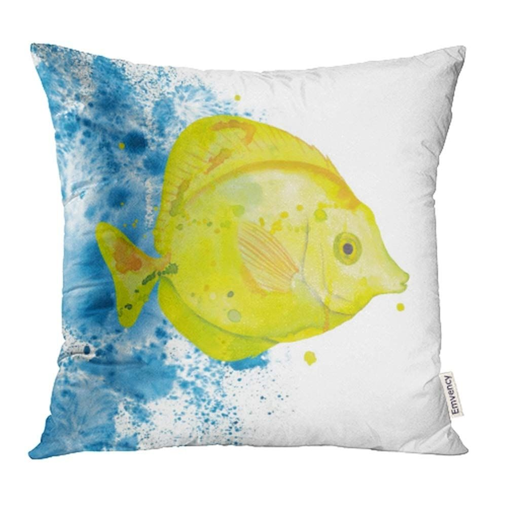 Colorful Animal Watercolor Yellow Tang Fish Water Splashes