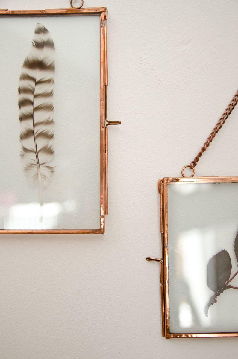 Neu Bilderrahmen aus Glas mit Messing und Kette im Boho vintage Look  IB85