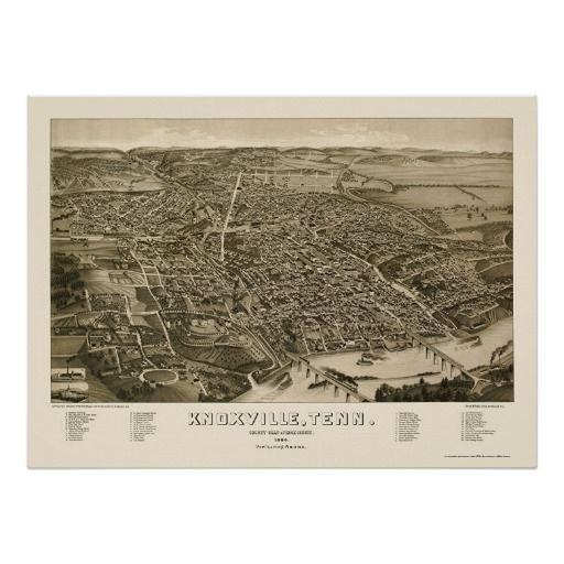 18x24 1886 Knoxville Tennessee Vintage Old Panoramic City Map