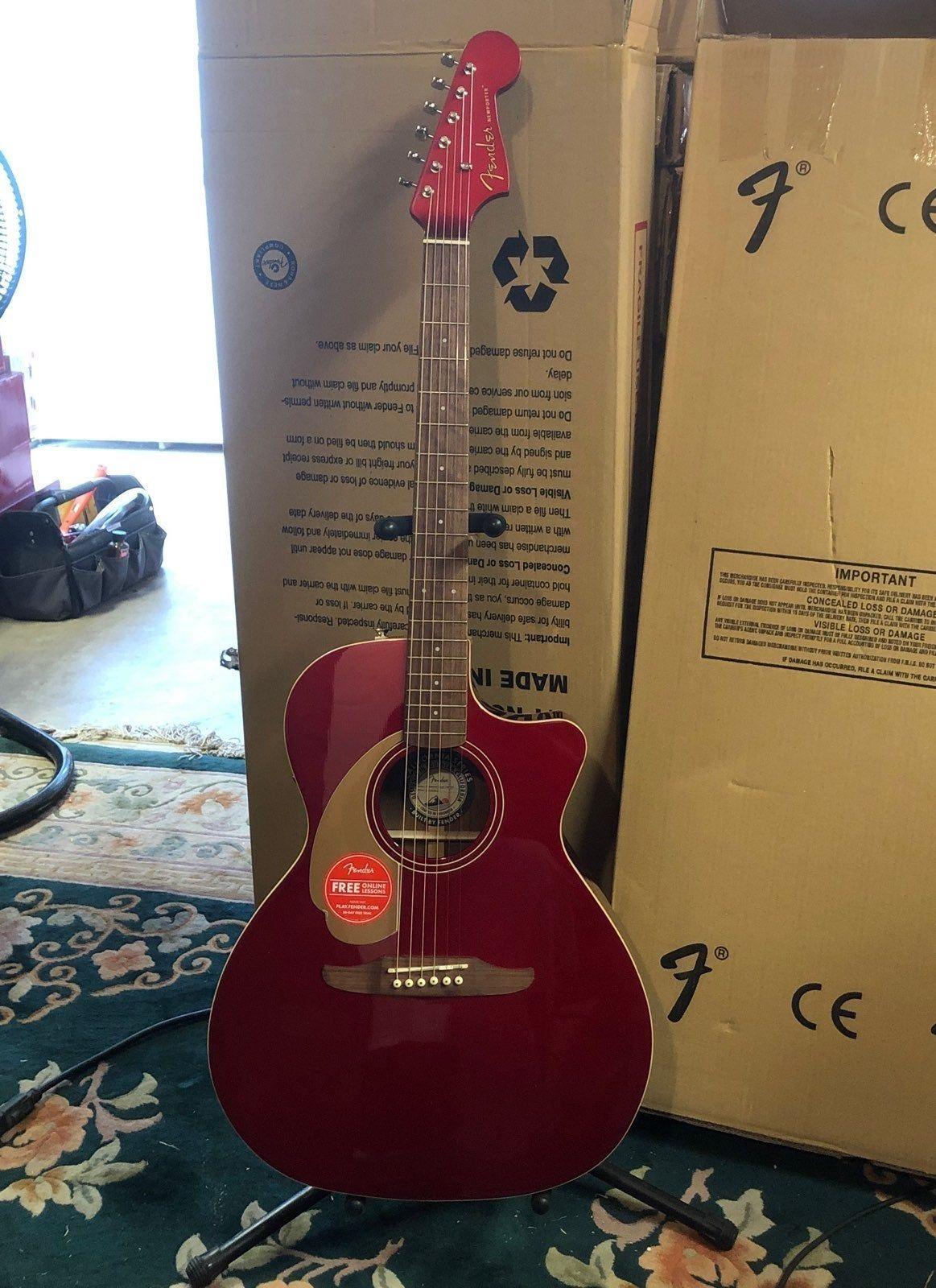 Fender Newport Player Acoustic Electric Guitar Real Nice Cherry Finish Guitar Sounds And Plays Good Made In Indonesia New In Box Guitar Fender Guitars Fender