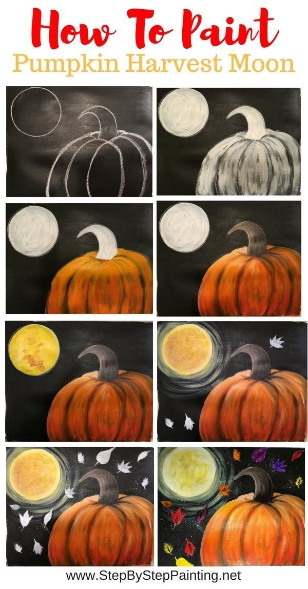 How To Paint A Pumpkin With Harvest Moon  Process Painting Pins By Tracie Kiernan