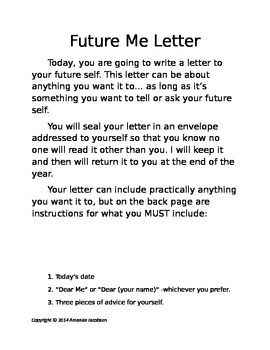 Letter to Future Me Personal Goal Setting