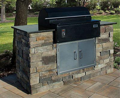 Smokin Brothers Stone Veneer Wood Pellet Smoker Bbq Grill Island 6 3 4 Long 3 Outdoor Kitchen Countertops Granite Countertops Kitchen Outdoor Grill Island