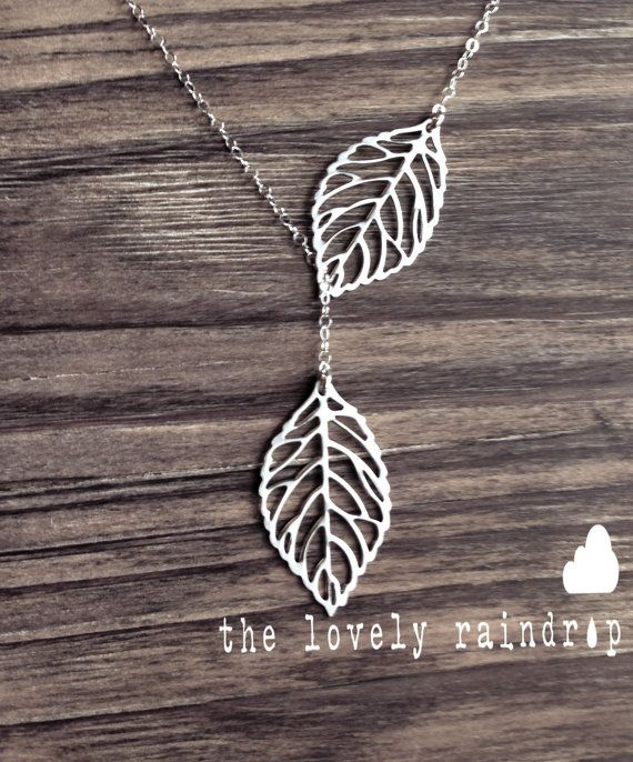 Leaf Lariat  silver grey white dainty leaf by thelovelyraindrop, $23.00