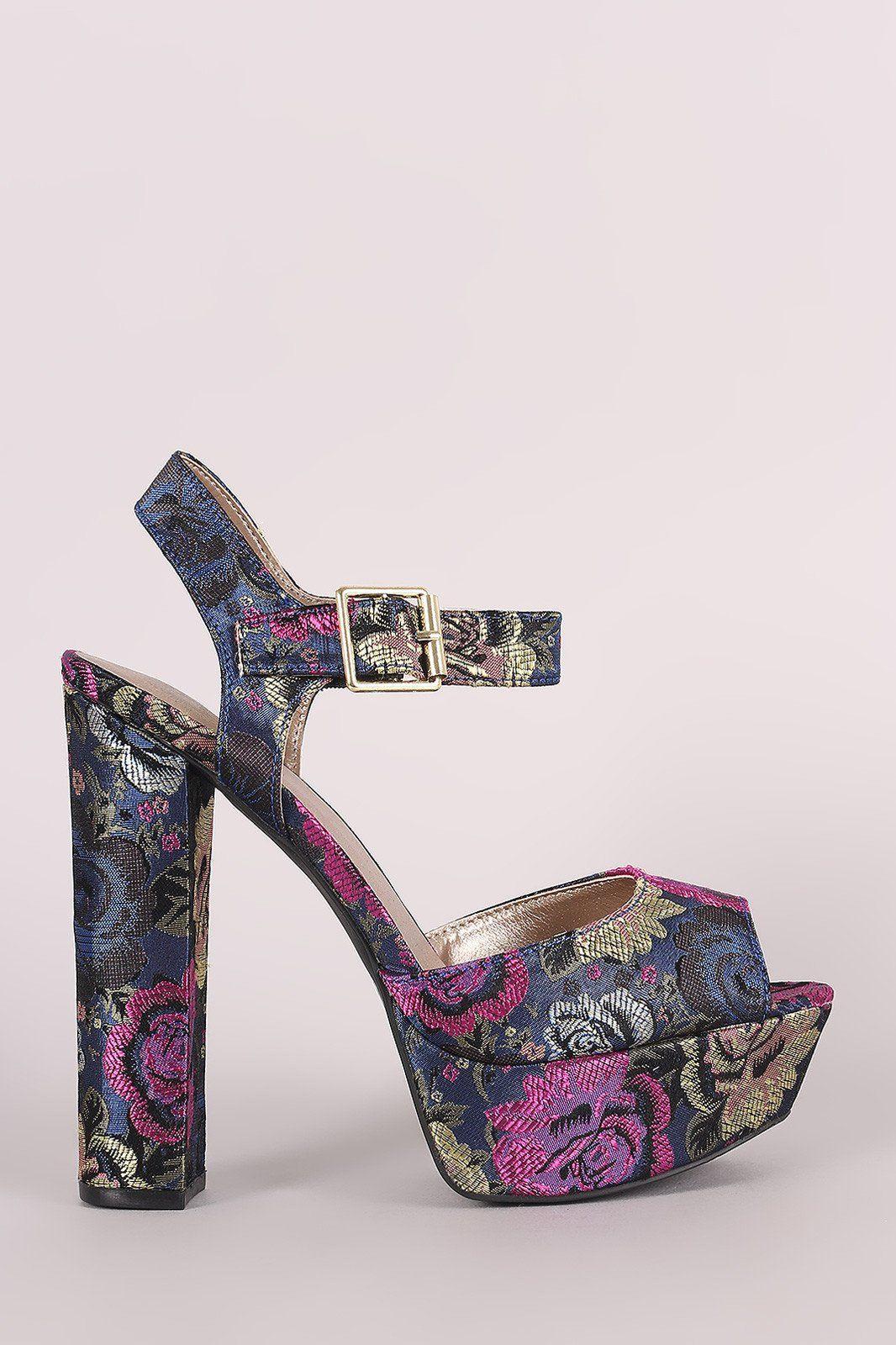 76e0dd36802 Qupid Floral Brocade Ankle Strap Chunky Platform Heel