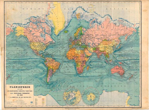 Antique World Map 1929 Very 26 by 21 inches nap