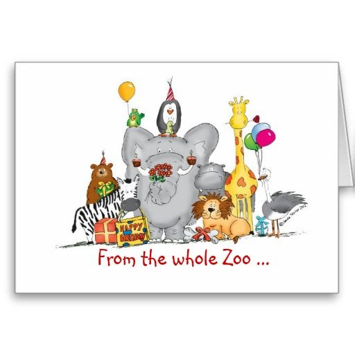 Happy Birthday From Group Cute Zoo Animals Card Zazzle Com
