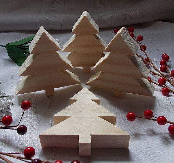 Christmas Trees Small Diy Wood Decorations Set Of Four Christmas Wood Crafts Christmas Trees For Kids Christmas Wood