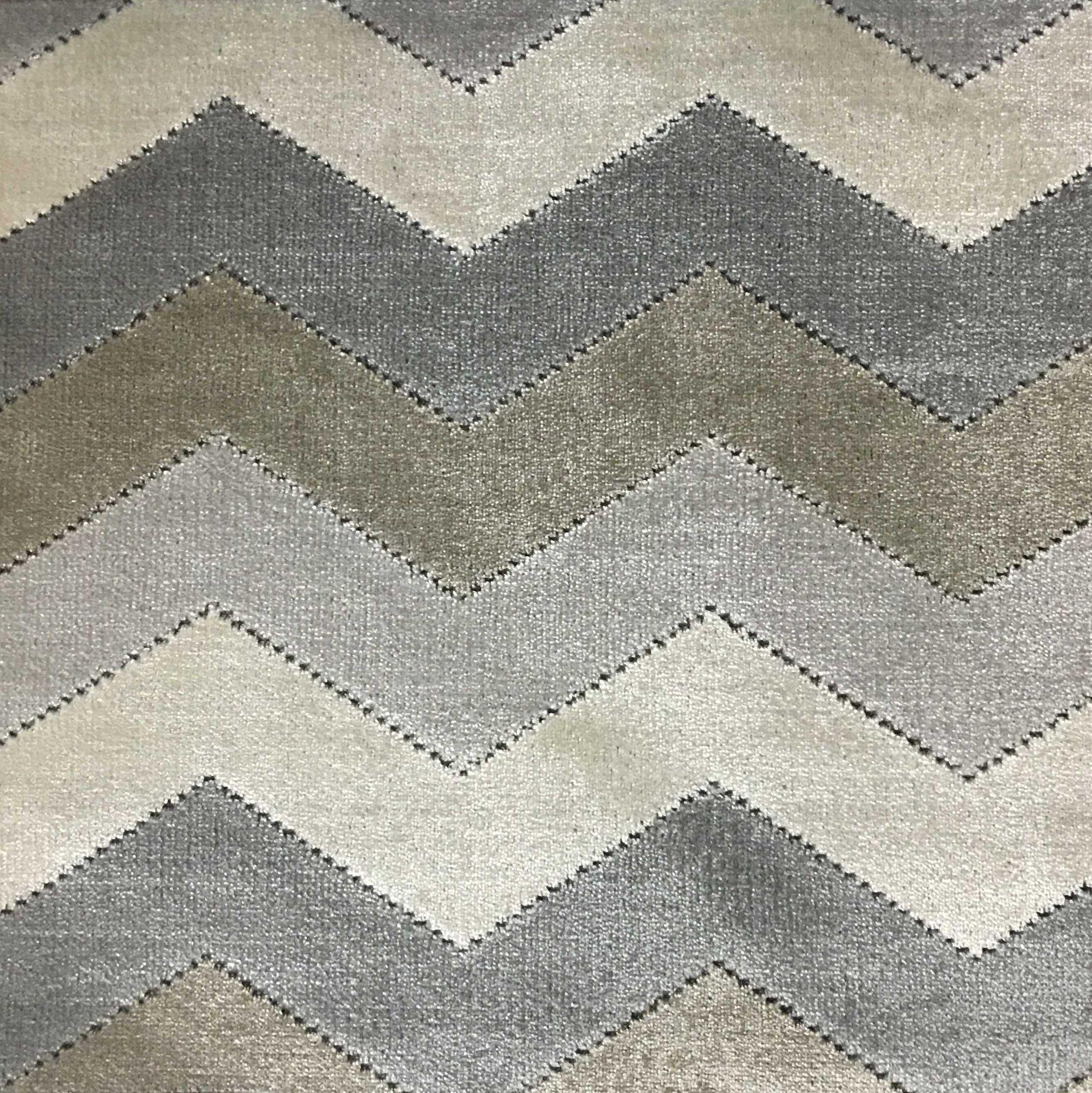 Longwood  Bold Chevron Pattern Cut Velvet Upholster Fabric By