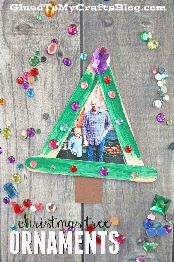 Popsicle Stick Christmas Tree Frame Ornaments Stick Christmas Tree Photo Christmas Ornaments Diy Photo Ornaments