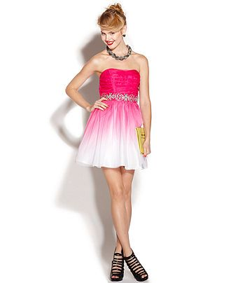 B Darlin Juniors Dress Strapless Ombre A-Line. Reminds me of a ...