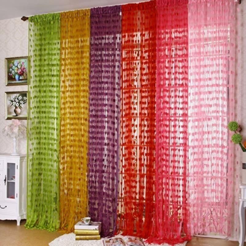 New Tulle Door Window Room Divider Curtain Valance Heart Line