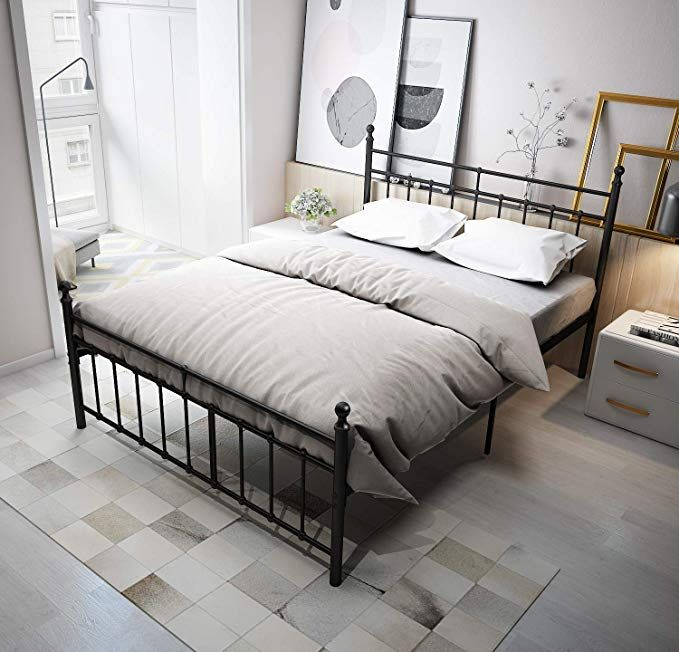 Best Temmer Reinforced Metal Bed Frame Queen Size With 400 x 300