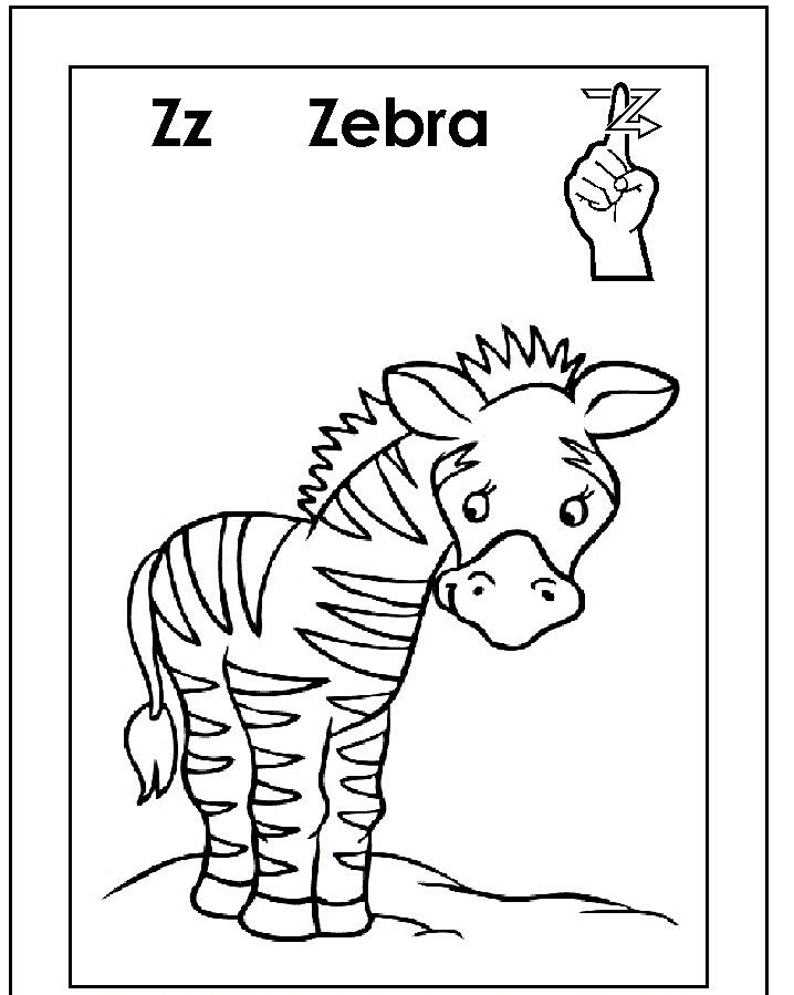 Asl for Z coloring page | ASL/American sign language alphabet ...