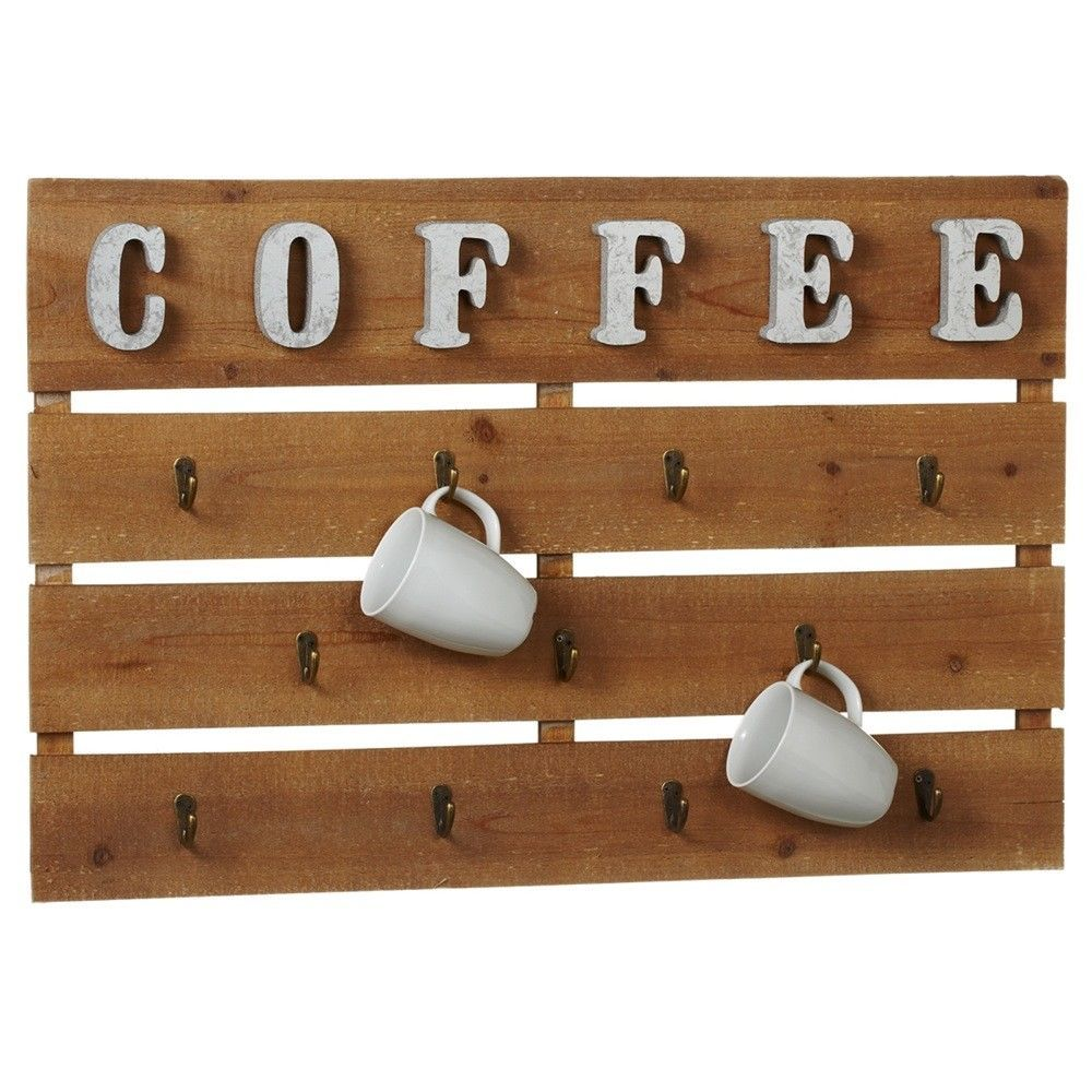 Wood Metal Wall Art Coffee Cup Holder Mug Hook Hanger Rack Home Decor Kitchen Unbranded Kitchen Design Plans Decor Coffee Cup Holder