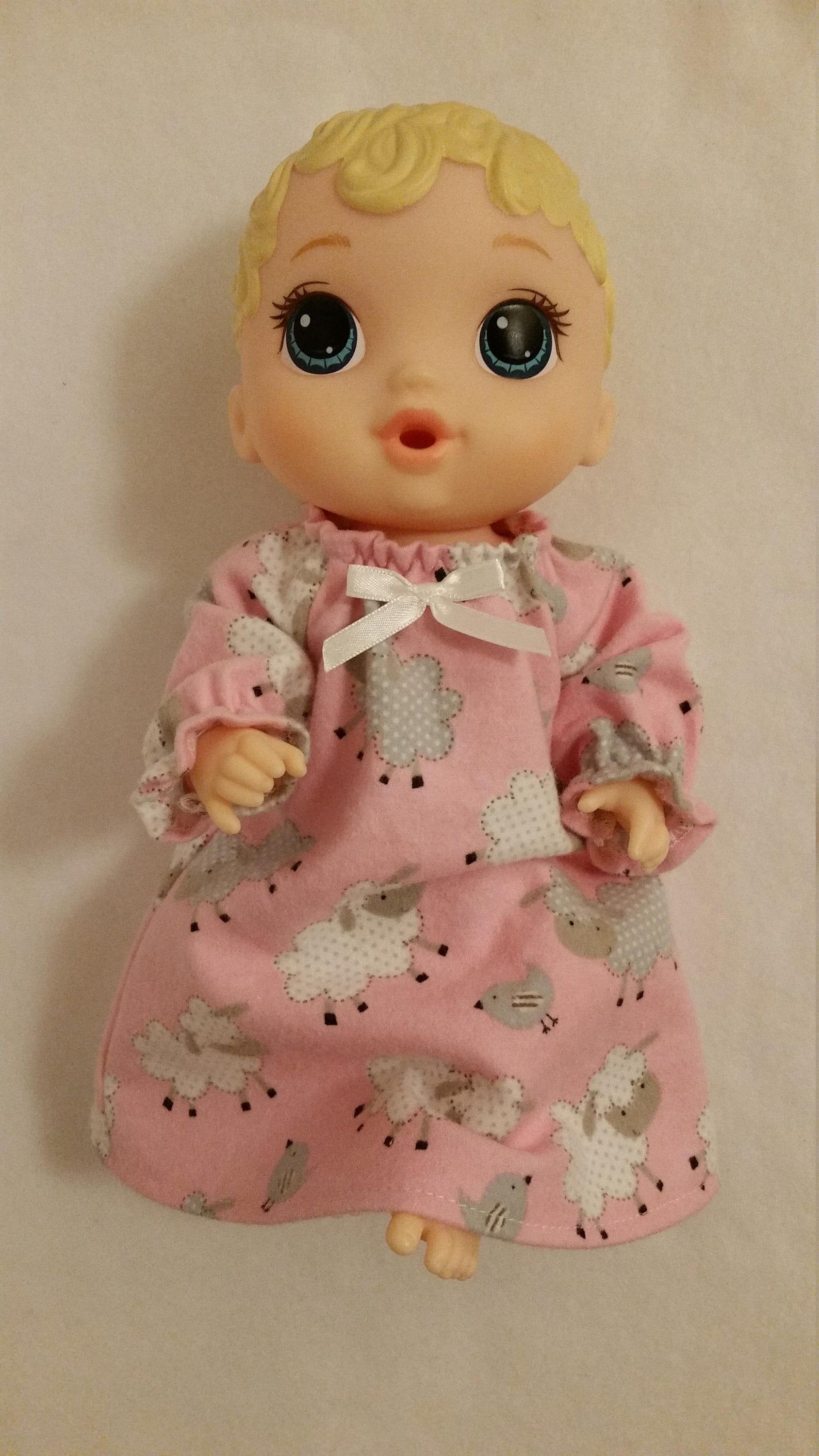 """DOLL CLOTHES BABY DOLL 11/"""" DRESS GREEN AND PINK PRETTY PRINT"""