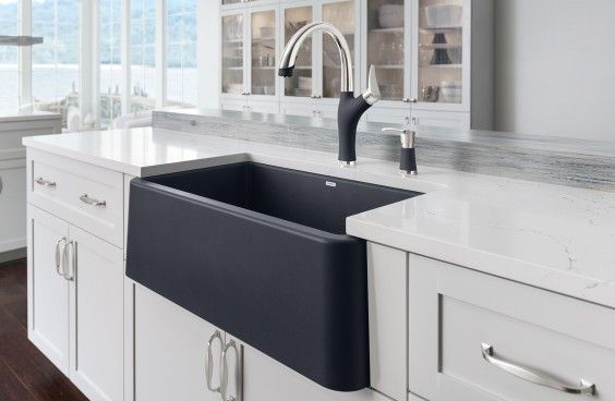 Blanco Ikon Silgranit Apron Front Farmhouse Kitchen Sink Blanco Is Pleased To Introduce The Wo Farmhouse Sink Kitchen Farmhouse Apron Sink Apron Front Sink