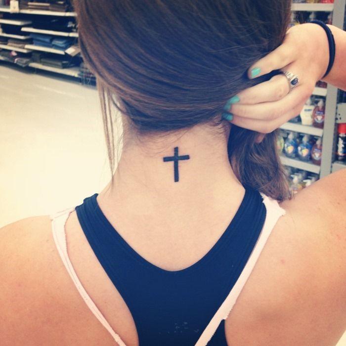 Back Neck Cross Tattoo For Girls Tattoos Pinterest Tattoos
