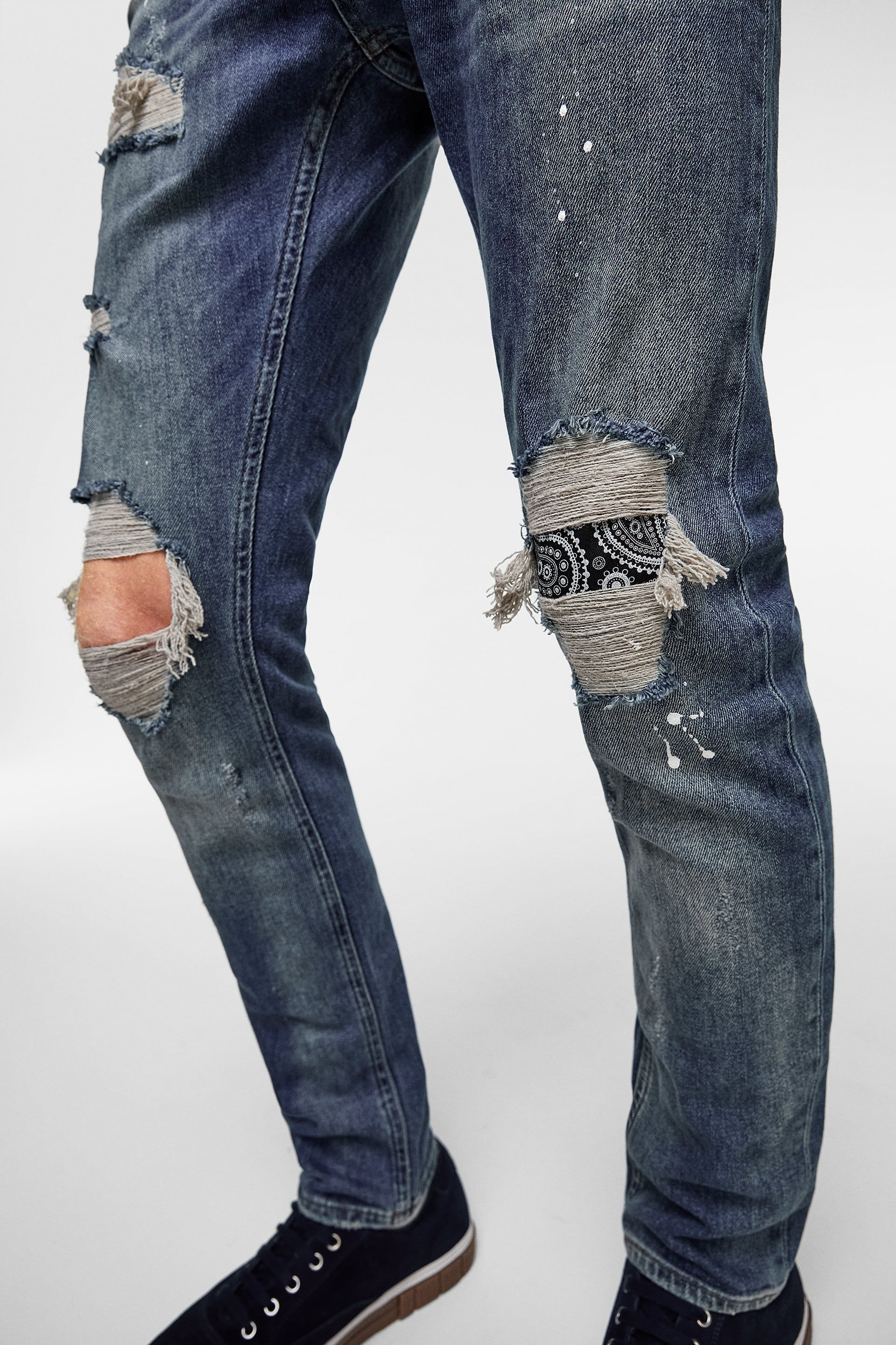 Skinny Jeans With Bandanna Patches Distressed Jeans Man Sale Zara India Skinny Jeans Patched Jeans Mens Fashion Suits