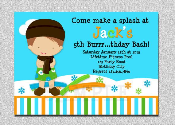Indoor Pool Party Invitation Winter Pool Party Birthday Invitation - birthday invitation swimming party