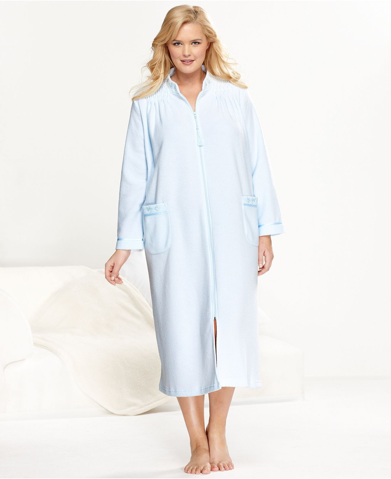 Miss Elaine Plus Size Robe, Brushed Back Terry Robe The coziness of ...