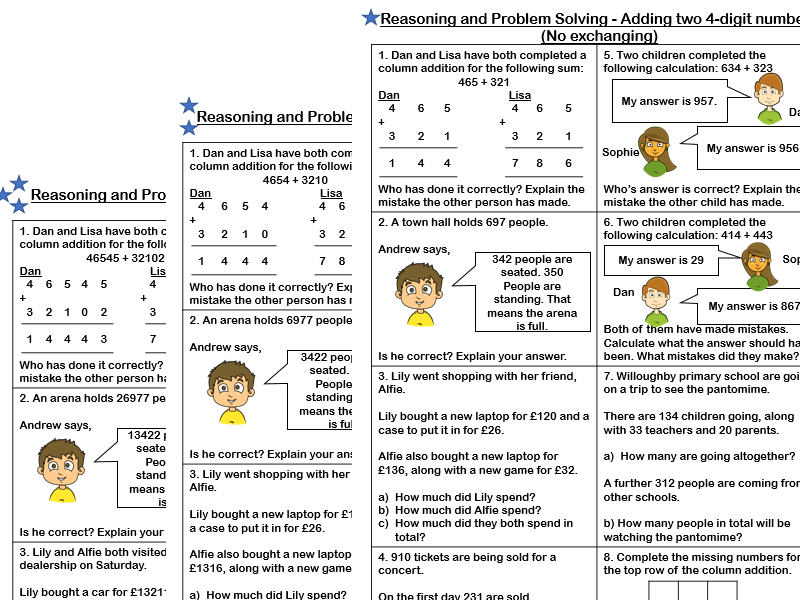 White Rose Maths Year 4 Adding Two 4 Digit Numbers No Exchange Reasoning And Problem Solving Teaching Resources White Rose Maths Problem Solving Problem Solving Worksheet