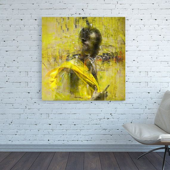 CANVAS PRINT Africa painting African Square Africa Yellow Wall Art ...