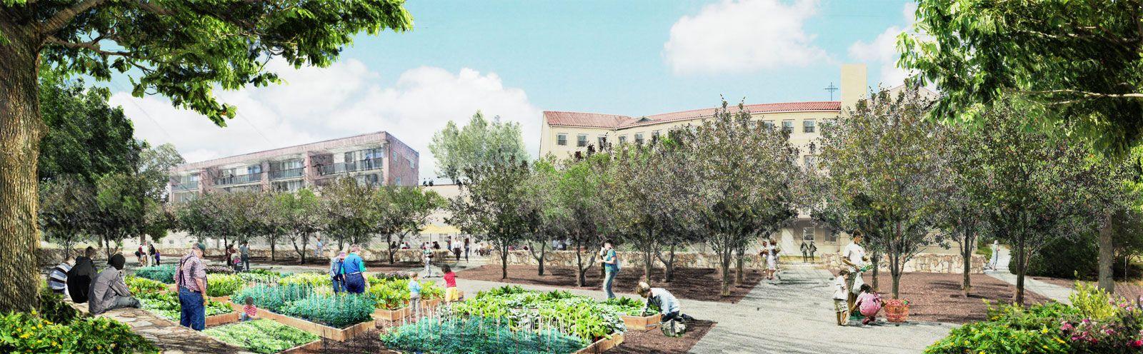 Urban Community Garden Rendering