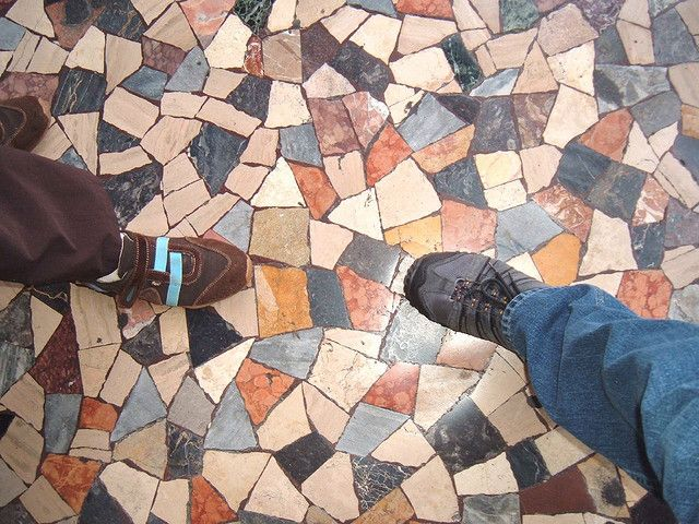 Broken Tile Mosaic Floor Art Inspiration Happiness Patio