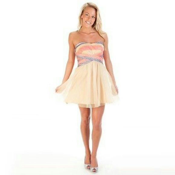 Homecoming Strapless Pink Sequin Bodice Dress | Pink sequin ...