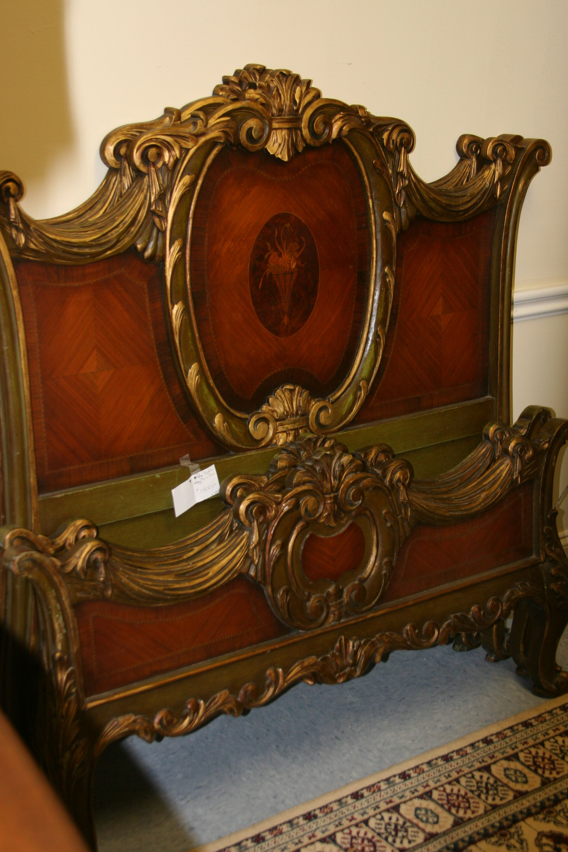pair of twin antique beds Victorian gothic