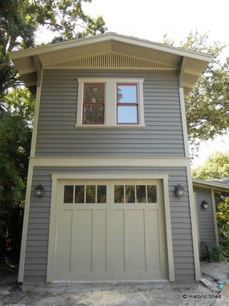 Two story one car garage apartment historic shed Double garage with room above