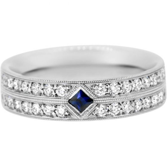 An Elegant Las Wedding Band In Fairtrade 18ct White Gold Set With A Princess