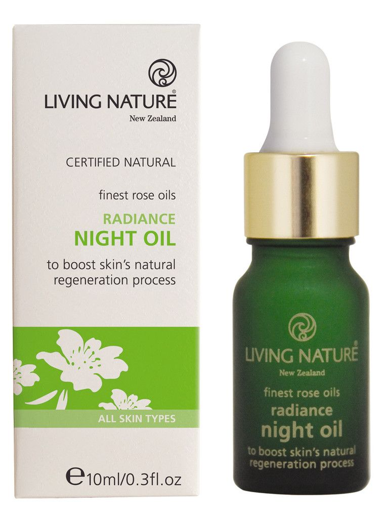 Radiance Night Oil from Living Nature. With rosehip fruit oil, calendula extract & frankincense.