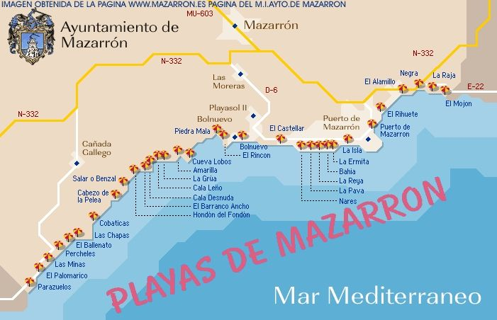A Handy Map Of The Local Beaches Of Mazarron Murcia Beach Local